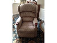 Electric reclining armchair with matching two seater settee