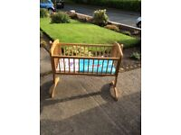 """Unused Mothercare rocking crib with mattress. Natural colour. rrp £85. Size 33""""h x 42""""l x 20""""h"""