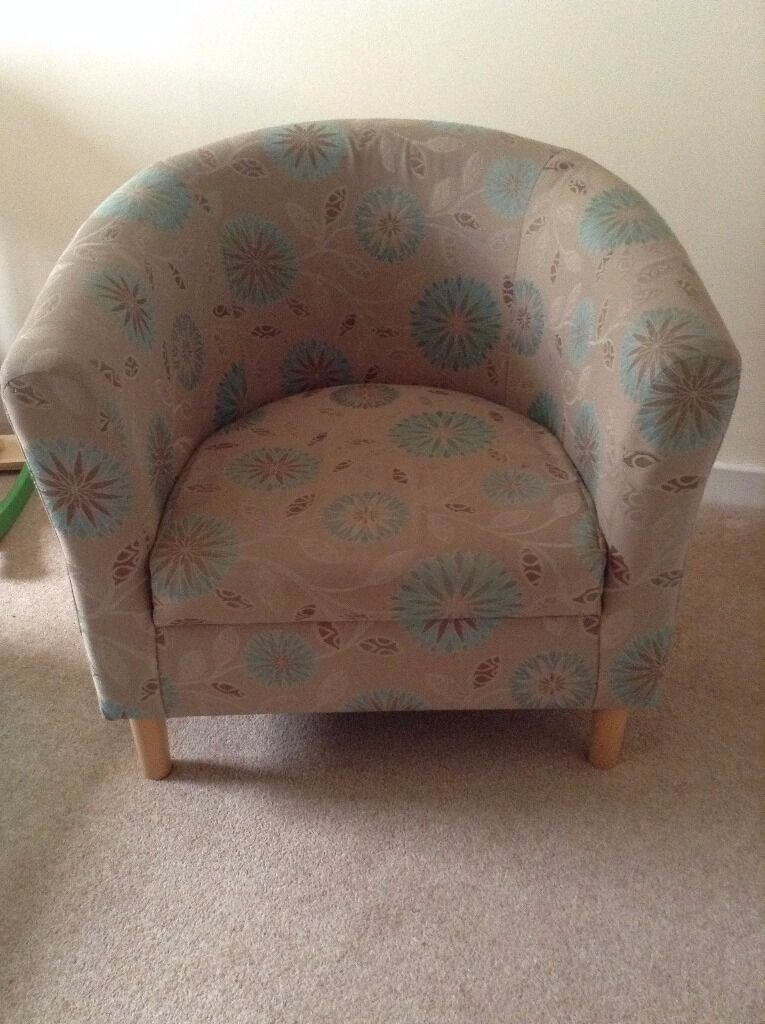 A Pair of Teal and Grey Patterned Tub Chairs Excellent Condition ...