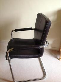 Brown leather and chrome, office chair