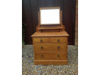 Vintage oak chest of drawers with mirror.