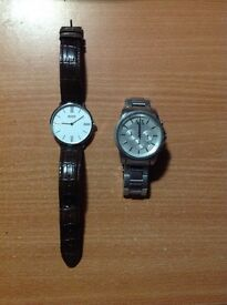 Mens Armani chrome watch / mens leather strap Hugo boss
