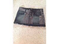 LADIES BLACK DENIM MINI SKIRT WITH SEQUINS SIZE 10 £