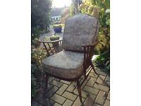 Ercol armchair, complete with cushions, retro vintage, needs new webbing.