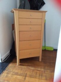 Tall Chest of drawers very good storage a few marks on the top would be lovely painted grey