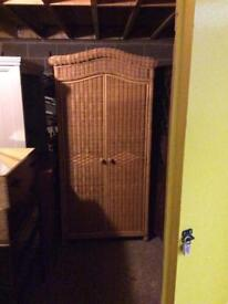 Wicker over wood wardrobe