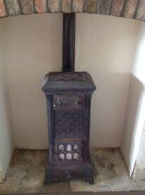 Antique French Poele Leau Wood Coal Burning Stove Cast iron