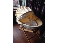 Mama and Papas Moses basket. Very good condition. Has bumpers, hood, mattress and stand