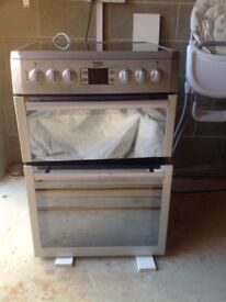 Silver Beko double oven electric cooker