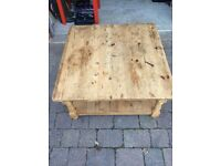Rustic hand made square wood coffee table