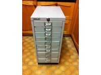 Small Bisley filing cabinet with 10 drawers