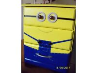 Bedside Drawers/table, Minions, Upcycled project, used, Painted, yellow/blue