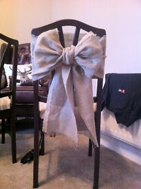 26 x hessian wedding chair bows - chair cover decoration