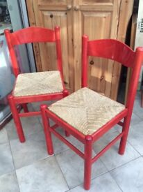Woven Rush Seat Red Wood Finish Chairs
