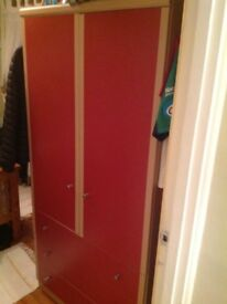 Red fronted wardrobe with 3 drawers