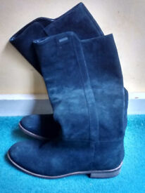 Superdry Black Suede Flat Boots - Size 4