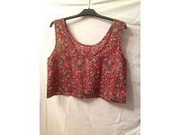 URBAN OUTFITTERS Red Patterned Viscose Cropped Top