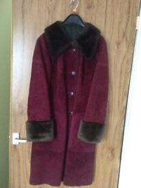 Retro style, ladies suede coat, full-length, burgundy colour, size 18.