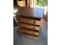 Pine Chest of Drawers (4 Drawers), Ball Feet,