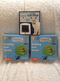 Cat toys and cat flap all new , boxed