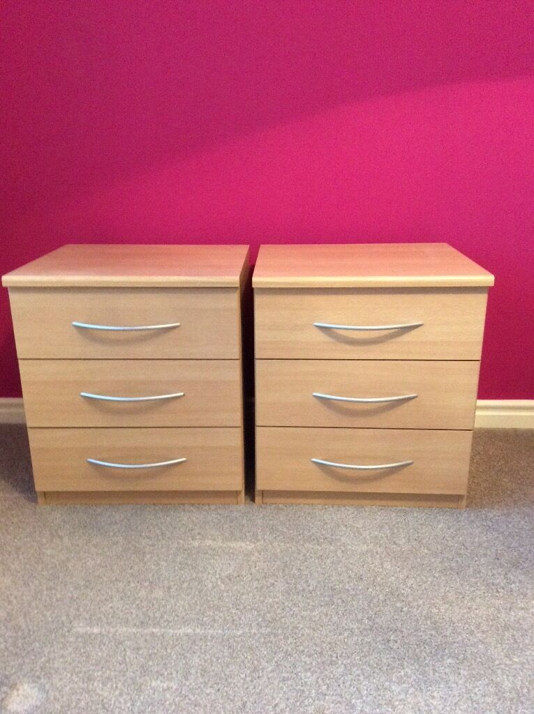 3 draw bedside cabinets