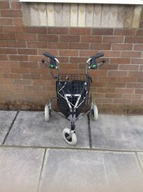 New 3-wheel walking frame with hand brakes, shopping bag, detachable basket
