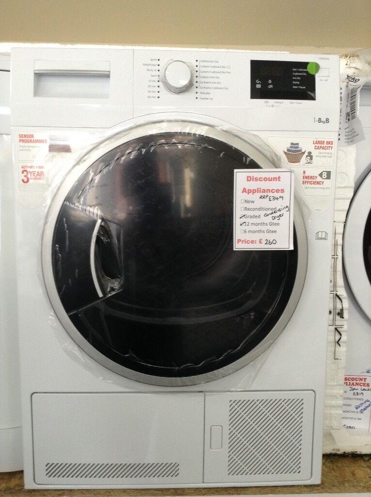 8kg condenser dryer 12 month Gtee new/graded
