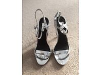 Topshop silver metallic high heels size 7 £20 collection only