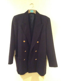 Ladies Navy Double breasted Jacket – Size 14