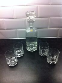 Modern Style 1970's Decanter and 4 Cut glasses