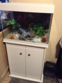 White fish tank with cupboard