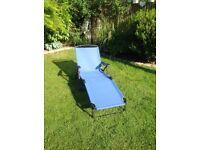 Blue garden sun lounger