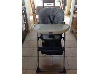 Mothercare High Chair very good condition colour grey and white