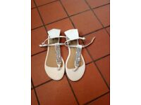 White ankle strap jewelled flat sandals