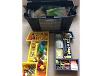 Large Stanley tool box full of fly tying, trout, materials