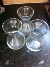 Three Clear Glass Hyacinth Vases
