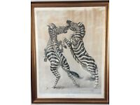Tretchikoff - large Fighting Zebras original print