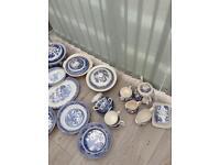Large blue China set for sale