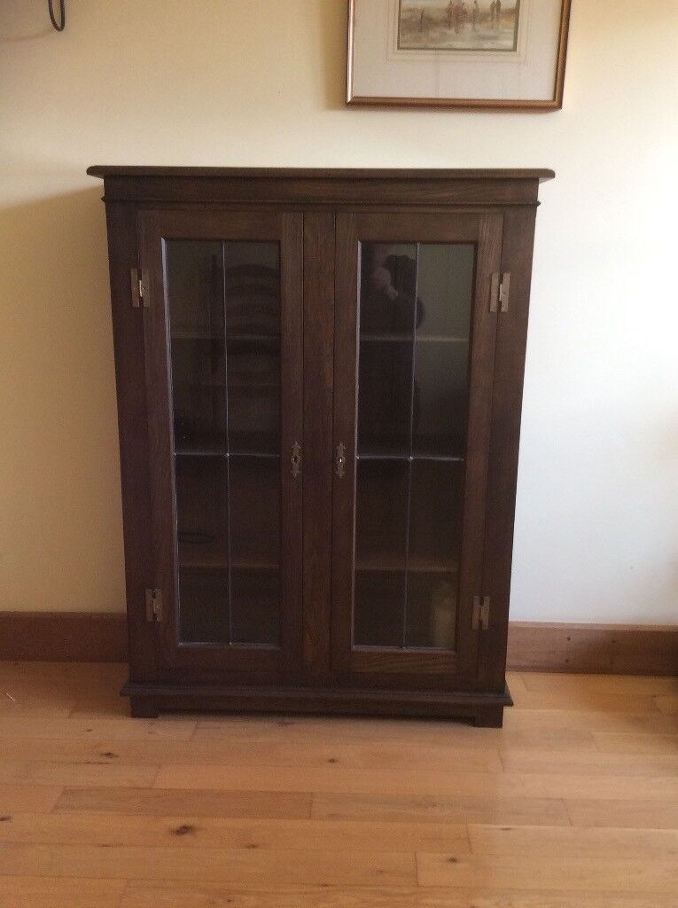 Handmade Solid Oak Glazed Cabinet Crafted By Local Maker