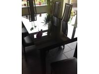 Highly glossed glass dining table and 8 chairs