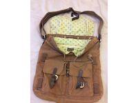Reiss brown canvas shoulder bag
