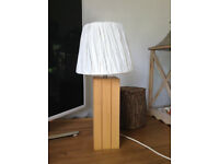 John Lewis Solid Oak Lamp + Cream Shade - Immaculate - Bedroom Table Living Room light