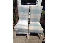 NEXT 2 upholstered chairs in teal and cream chequered pattern.