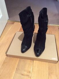 Zara black suede& patent leather boot