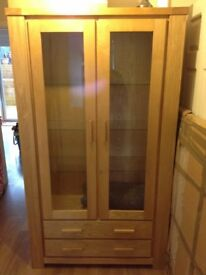 Oak Display Cabinet - Glass Doors & 2 Drawers - Bristol - Excellent Condition