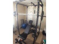 Home Gym Set Up - Squat Rack - Barbell- Weights - Bench - Dip Bars...