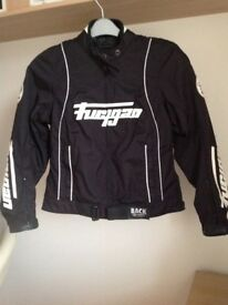 Furygan Ladies Motorcycle Jacket. Black textile. As New. Size12/14.