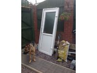 White double glazed door, frame and cill. Used.