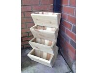 4 TIER POCKET PLANTER,GARDEN FLOWER PLANTER,TREATED, WOODEN, MANY COLOURS/SIZES QUALITY HANDMADE