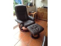Faux chocolate brown leather relaxer chair and stool
